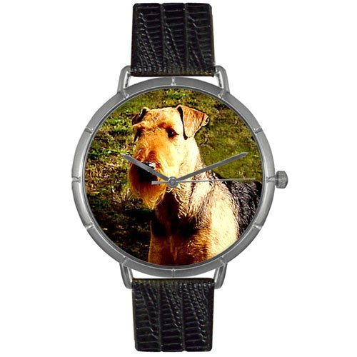 Airedale Terrier Whimsical Watches Women's T0130079 Black Leather And Silvertone Photo Watch