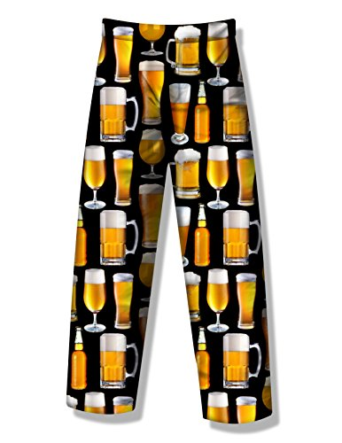 Fun Boxers Mens Beer & More Beer Fun Prints Pajama & Lounge Pants, Beer Photo, Medium