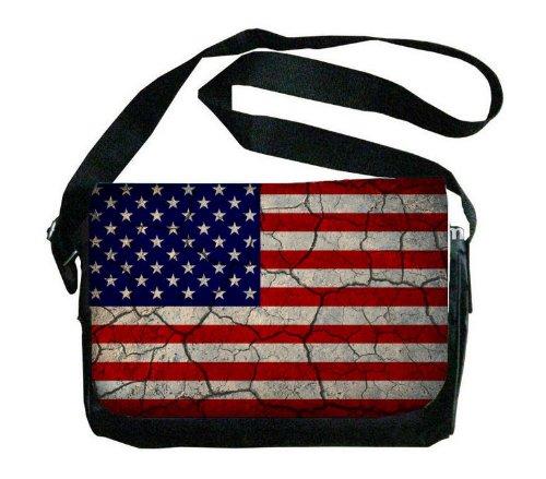 United States Flag Crackledデザインメッセンジャーバッグ   B00FMFOD7O