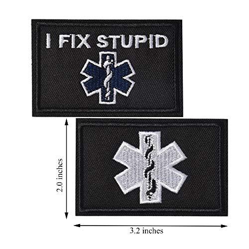 SHELCUP I Fix Stupid EMT Medic Funny Tactical Military Morale Patch Hook&Loop Tactical Patch