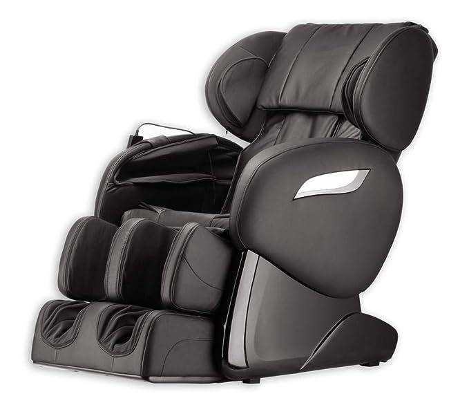 Lujo Sillón de masaje shiatsu F2000 piel negro con ...