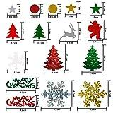 Resinta 150g/7500 Pieces Christmas Table Confetti Christmas Design Confetti Pentagram, Elk, Snowflake, Santa, Pine, Sequin, Merry Christmas Alphabet Confetti Bright Christmas Party Decoration