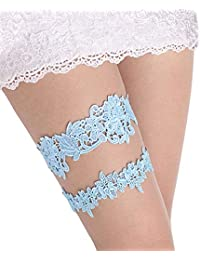 fa865b28d92 Wedding Garter Set Lace Garters Belt Bride Women White Blue Garter Size  Optional