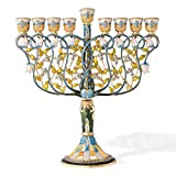 7.5'' Tall Hand Painted Menorah Candelabra Embellished with a Intertwining Flowers Design 24K Gold and Blue Crystals by Matashi