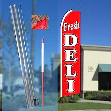 Feather Banner Flag 11.5 x 2.5 Feet Red FRESH DELI
