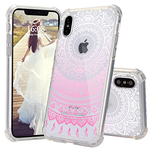 iPhone X Case, JEXICASE Pink Henna Mandala Pattern Clear Shock Absorption Technology Bumper Hybrid Protective Cover Case for iPhone X 5.8