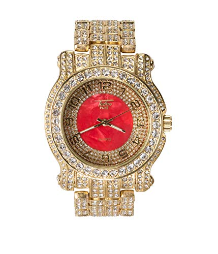 Men's Gold Iced Out 45mm Diamond Red Face Watch   Japanese Quartz   Analog Display - Red