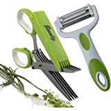 Herb Scissors with 3-in-1 Click N Peel Multipurpose Peeler - Julienne Vegetable Fruit - Premium Cooking Gadgets - 5 Blades Stainless Steel Kitchen Shear with Cover and Cleaning Comb