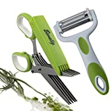 : Herb Scissors And Multipurpose Peeler - 5 Sharp Blades Stainless Steel Unique cooking utensils Kitchen Shear Gadgets with Cover & Cleaning Comb -- With Bonus EBook