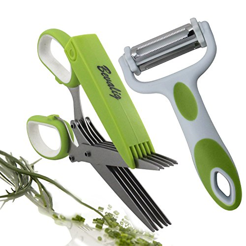 Herb Scissors with Multipurpose Peeler - 5 Sharp Blades Stainless Steel Kitchen Shear Scissor Gadgets with Cover & Cleaning Comb - Clever Cutter Stripping Chopper Tool - Julienne Vegetable Fruits