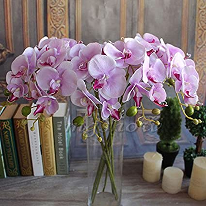 Fangfang Artificial Fake Silk Flower Phalaenopsis Butterfly Orchid Home Office Wedding Decoration Pink