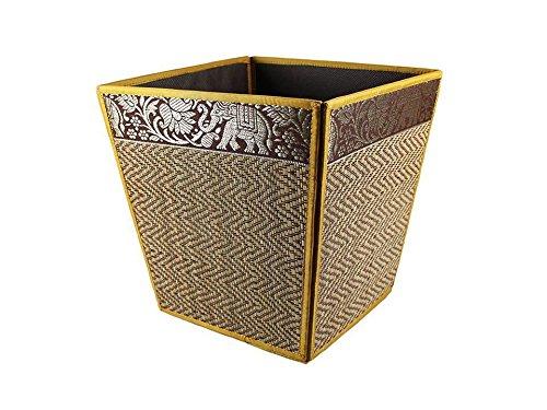 thai-elephant-paper-bin-wicker-reed-waste-traditional-oriental-pattern-thailand-gold