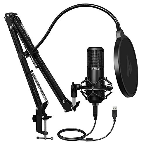 Maono AU-PM420 USB Podcast Condenser Microphone, Computer Mic with Professional Sound Chipset for Gaming, Streaming, YouTube, Voice Over, Studio, Home Recording