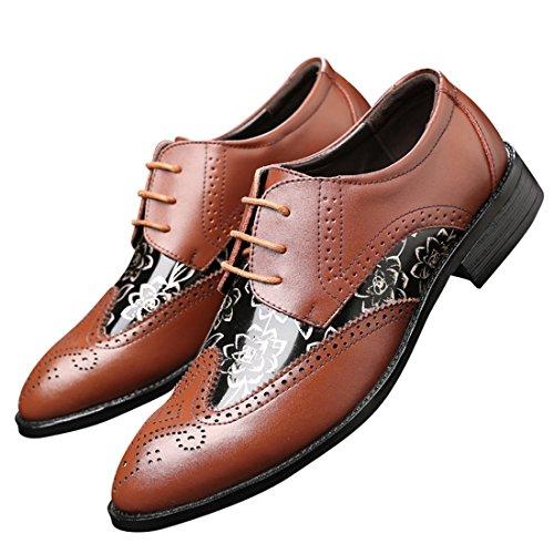 qianchuangyuan Chaussures de Ville pour Hommes Neuves Cuir PU à Lacets Bout D'affaires Oxfords Chaussures Marron mX5DUecXzu