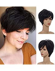 MEIRIYFA Short Pixie Cut Wigs for Women, Short Layered Straight Hair Wig with Bangs Synthetic Full Wig for Daily Party Wear