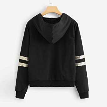 Women Tops, Owill Long Sleeve Stripe Contrast Sequin Hooded Sweatshirt Blouse at Amazon Womens Clothing store: