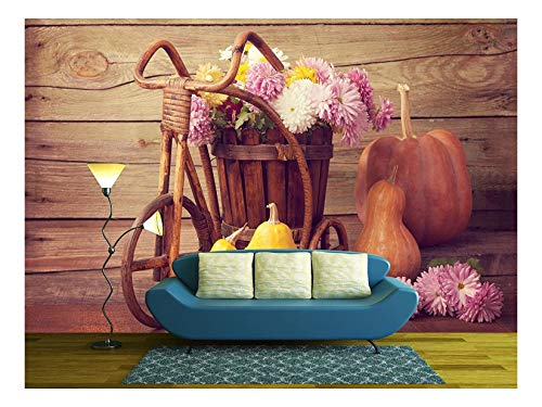wall26 - Autumn Still Life - Pumpkins and Chrysanthemums Bunch - Removable Wall Mural | Self-Adhesive Large Wallpaper - 100x144 inches