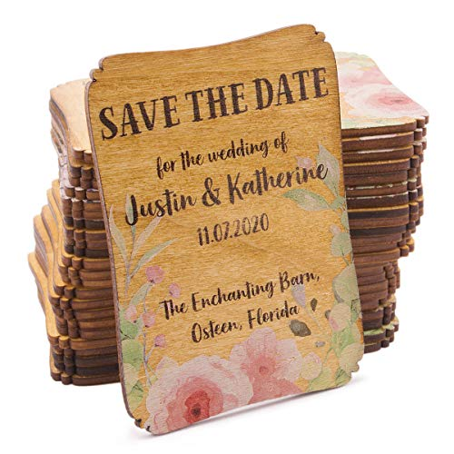 50 Personalized Painted Wood Save the Date Fridge Magnet for Rustic Wedding (Rose Bloom) -