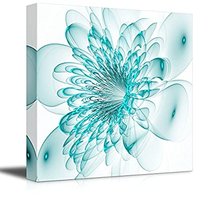Grand Print, Classic Design, Beautiful Blue Flower on White Background Computer Generated Graphics Wood Framed Wall Decor