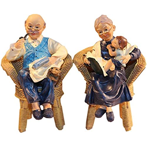 Coostyle Warm Family Elderly Couple Figurines, Loving Old Age Life Resin Home Decorations with Gift Card for Mother's day Father's day Anniversary (Family) Sales