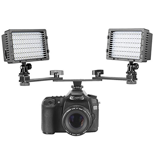 Neewer 2-Pack CN-160 160 LED Dimmable 5600K Ultra High Power Panel Camera Video Light with 7 inches/18 centimeters Dual Mount Bracket Arm for Canon, Nikon, Pentax, Panasonic, Sony, and Olympus DSLRs from Neewer