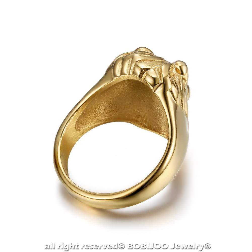 Petite Chevali/ère Bague T/ête de Lion Acier Yeux Verts Plaqu/é Dor/é Or Homme Femme Enfant BOBIJOO Jewelry