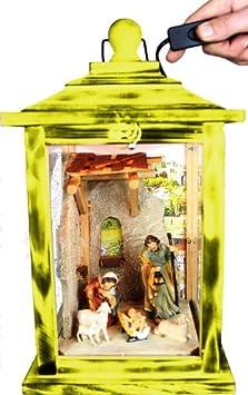 KLG-MFOS-GELB Holzlaterne - Weihnachtskrippe MIT KRIPPENFIGUREN -Figuren - mit Beleuchtung 220V - Laterne aus Holz -
