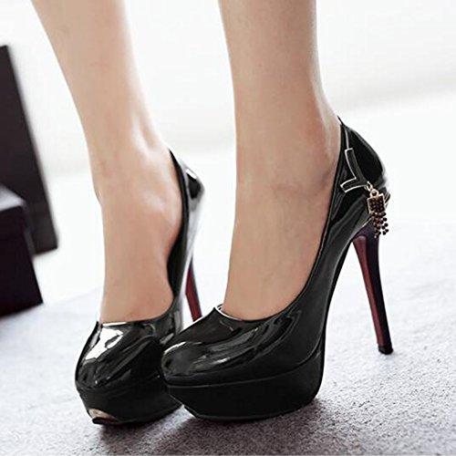 Easemax Womens Patent Rhinestones Pendant Round Toe Low Top Platform High Stiletto Heel Pumps Shoes Black jZqRtPatR
