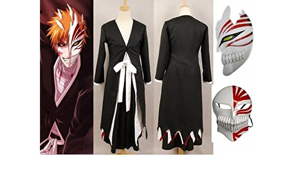 Japonés Anime Bleach Ichigo Kurosaki Cosplay Kimono Abrigo+Ichigo Kurosaki máscara conjunto, tamaño S (altura 148-155 cm, peso 40-50 kg): Amazon.es: ...