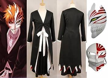 Japonés Anime Bleach Ichigo Kurosaki Cosplay Kimono Abrigo+Ichigo Kurosaki máscara conjunto , tamaño L