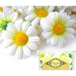"""Florist Brand Silk Gerbera Daisy Flower Heads 1.75"""" 100pcs - White 10"""