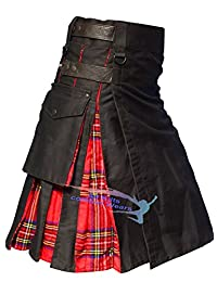 Black Leather Straps Hybird Utility Kilts