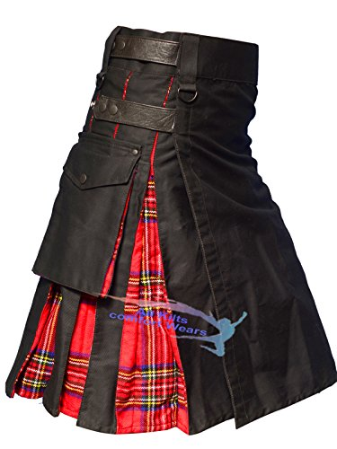 Black Leather Straps Hybird Utility Kilts (44) by All Kilts Sports