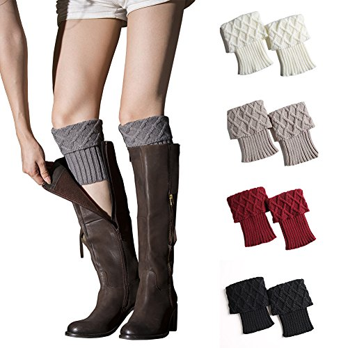 - My Decor 4 Pairs Women Boot Cuffs Crochet Knitted Boots Socks Short Leg Warmers, Style 02