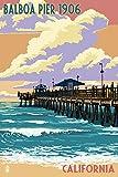 Balboa, California - Balboa Pier since 1906 (24x36 Collectible Giclee Gallery Print, Wall Decor Travel Poster)
