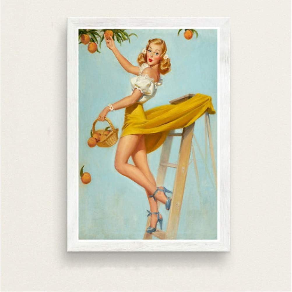 Pop Artwork Pin-Up Girl Hei/ße Sch/önheit Pinup M/ädchen Klassische Retro-Stil Kunst Malerei Seide Leinwand Poster Wand Wohnkultur 50 70Cm No Frame