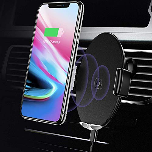 Wireless Car Charger Car Mount Automatic,USAMS 10W Qi Fast QI Standard Phone Holder 360°Rotate for All Qi-Enabled Phones Galaxy Note 9/S9/S9+/S8/S8+/S7/S7 Edge/8/5, iPhone Xs Max/XS/XR/X (Black-2) ()