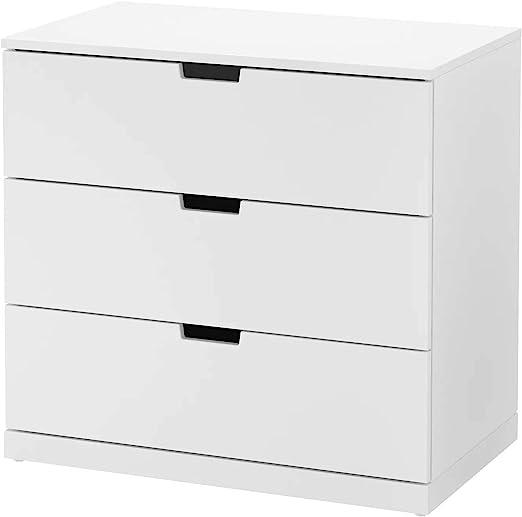 IK IKEA Nordli - Cómoda con 3 cajones, Color Blanco, 80 x 76 cm ...