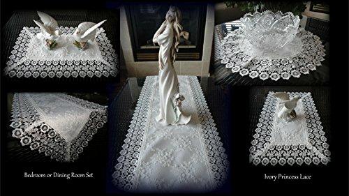(Galleria di Giovanni 5 Piece Linen Gift Set Ivory Princess Lace European Doily Dresser Scarf Doily)