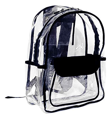 Custom Personalized Vinyl Transparent Clear School Backpack Backpack for School Security Travel Sport Events (No Embroidery Black Trim)