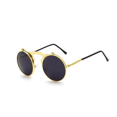 36fb1b6669 Huicai Vintage punk ronde métal lunettes de soleil pour hommes ...