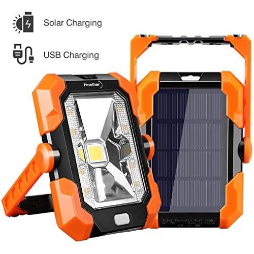 chollos oferta descuentos barato Finether Luz de Trabajo Foco LED Recargable de Solar y USB Lámpara de Trabajo Impermeable IP64 4 Modos de Iluminación con Mango ajustable y magnético