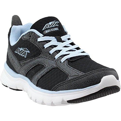 Avia Women's Avi-Cube Running Shoe, White/Chrome Silver/Skyway Blue, 7 M US