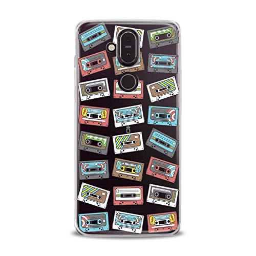 Lex Altern TPU Case for Nokia 9 PureView 8.1 Plus 7.1 6.1 X6 5.1 3.1 Clear Watercolor Cover 80s Audio Cassette Pattern Gentle Retro Pretty Protective Transparent Flexible Girl Silicone -