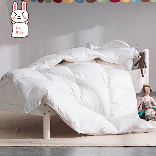 (ROSE FEATHER Toddler/Travel/Crib Goose Down Comforter Duvet/Blanket Multifunctional,100% Organic Cotton Hypoallergenic & Washable Unisex Kids,All Season,White 47x60 )