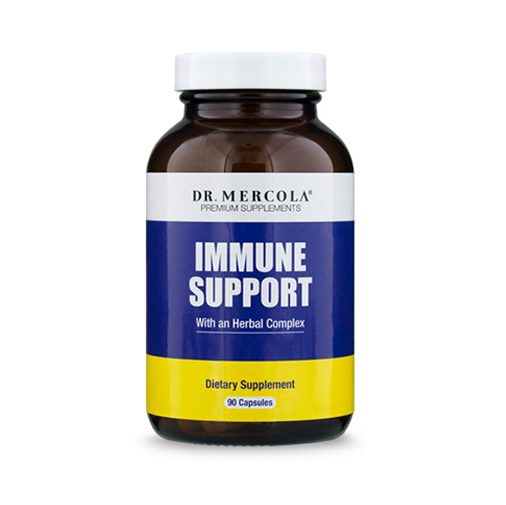 Dr. Mercola Immune Support Formula + Herbal Complex - 90 Capsules -Immune System Booster Dietary Supplement w/Vitamin C, Vitamin D3, Oregano Oil, Olive Leaf Extract, Bee Propolis