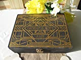 Wedding Guest Book Alternative Engraved Art Deco Gatsby Style Wood Box Personalized Set for 125 guests - Item 1655