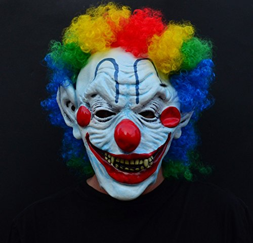 Acid Tactical Scary Creepy Halloween Clown Evil Latex Mask - Curly Moe (Scariest Clown Mask)