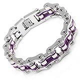 LEADCIN Stainless Steel Mens Bracelet Bike Chain Bracelet Motorcycle Heavy Bangle Man Jewelry, Purple