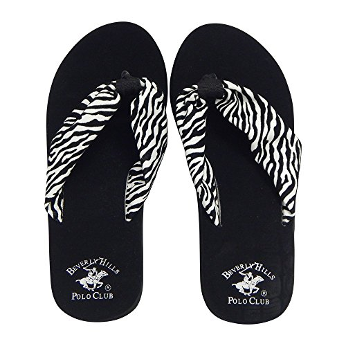 Beverly Hills Polo Club RONA Women's ZEBRA Platform Wedge Flip Flop Sandal Thong (10 US, Black & White)